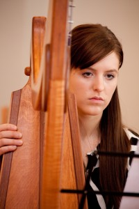 Brooke, receptionist, progressed to study the pedal harp and performs for local church and private occasions.