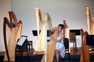 "Diana, dentist, who played piano throughout childhood, she now finds her ""real love"" is the harp! She recently progressed her studies from lever harp to pedal harp."