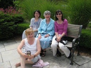 Shelley, Holly, Gail, Carol (holding camera!) and a new friend  at the Music Healing & Transition Program in Woodstock ON