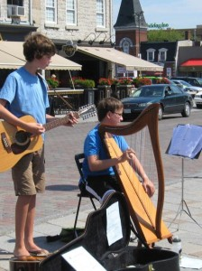 Neal Miner enjoys busking with a friend! He has also performed for the Bellevue House, and the Firehall Theatre's Celtic Festival.
