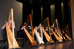 Harp Sinfonia Senior in rehearsal at Richmond Hill Centre for the Performing Arts before a concert (2011).