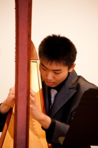 "Steven Chuo captured First Prize Grade 10 in 2013 Toronto Harp Society Scholarship. Previously, he received ""Honourable Mention"" and First Prize Grade 8 in the same audition in 2011. He has performed frequently with  the Harp Sinfonia."