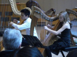 Susan Vinovich's first harp performance in duet with her teacher in 2008.