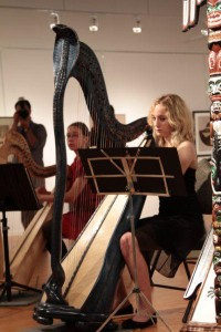 "Susan Vinovich performed on Cobra Harp as part of Harp Sinfonia performance for  ""Two Lives in Art"" Exhibition by artists Hoi Kwon Choi and his wife Kook Kang Choi. Along with the Cobra Harp was a set of unique harps designed by the artist in collaboration with harpist Andrew Chan."