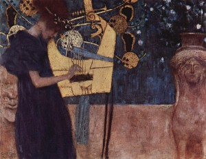 "Gustav Klimt featured a harp-like instrument in his 1895 painting ""Die Musik"" (The Music)."