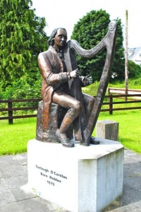 Statue of  Turlough O'Carolan in Ireland recognizing his contribution to Celtic music. This blind harpist was one of the most well-known musician in 17-18th Century.