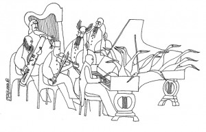 Australian Cartoonist Donald Greenfield depicted a harpist in one of his work.