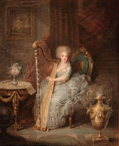 Princess Elisabeth of France pictured playing the Harp. Historically, the harp was often played by the royals and the upper class for it defines their exquisite taste.