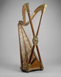 An example of one of the adventurous attempts on harp design over the centuries.