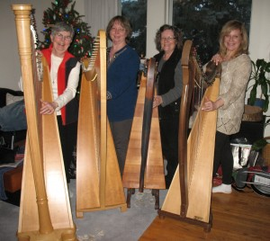 "The Celtic Knots members at rehearsal: Gail, Carol, Shannon, and Shelley. Four ladies from different walks of life met at the ""Harp Crossroad"" and decided to pursue their passion and musical adventure together. They perform for various events as a harp ensemble."
