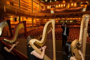 Harp Sinfonia in rehearsal before concert conducted by Andrew Chan. (2015)