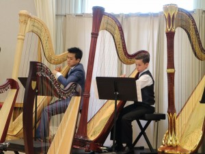 Sebastian Gobbels in duet with his teacher in Annual Concert 2016 where he also performed a solo and took part in the Harp Orchestra.