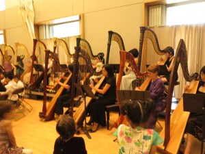 Front Row: Diana, Man Lan, Jeannette and Helena perform in Harp Orchestra 2016.