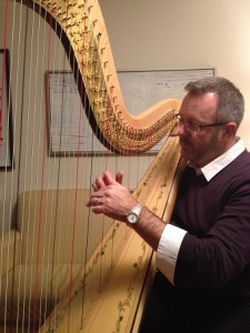 Keith, psychotherapist, enjoys his personal goal to play the harp (Includes winning a Grammy award with his harp playing one day, he said!)