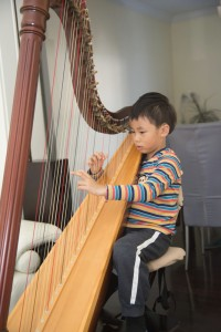 Motivated by being awarded of attractive  stickers (of puffy elephants and  shinny musical notes etc), Luc Hung started his harp studies a year ago under the tutelage of Andrew Chan at age 3.5. WATCH video of Luc trying out a duet with his teacher:   First Duet Practise
