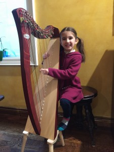 4 year old Ajooni Singh, inspired by her playmate Maithiri Ravin, started the harp half a year ago. She is excited to go to her harp lesson and learns about new things about the harp each week.