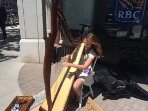 After two years of dedicated study, Caleigh is now a regular busker and has even developed her own fan base!