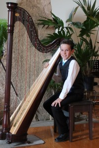 Sebastian Gobbels, scored 90% First Class Honours with Distinction for his Grade 4 RCM Exam on Lever harp. He has also performed successfully for weddings and local senior home.